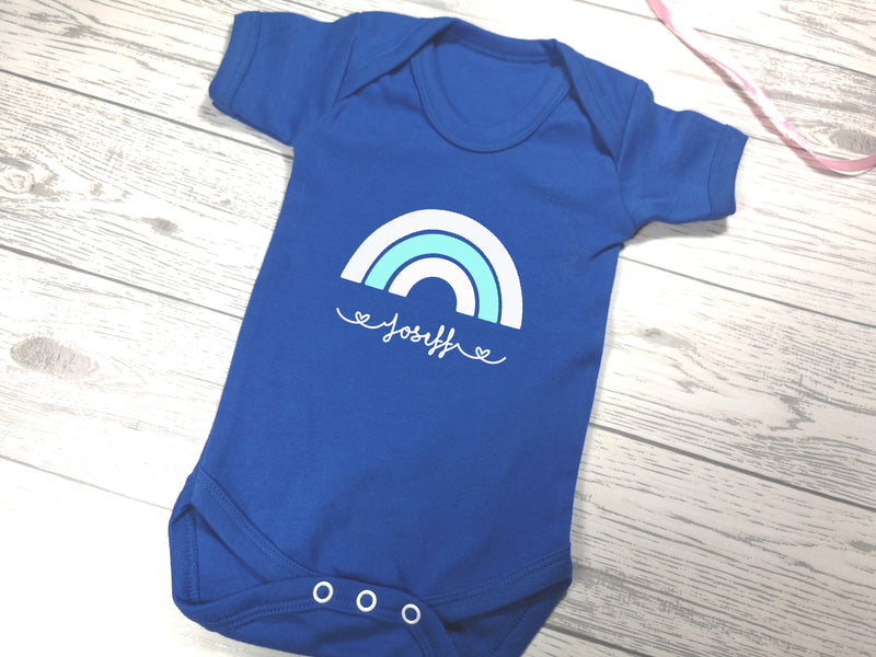 Personalised Rainbow Royal blue Baby vest suit