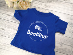 Custom royal blue Baby t-shirt Promoted to big brother detail
