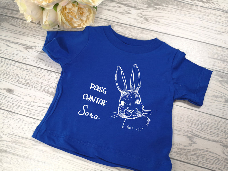 Personalised Blue Easter bunny Baby t-shirt with Pasg cyntaf NAME detail