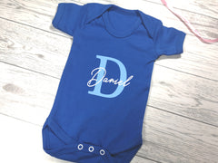 Personalised Royal blue Baby vest suit with letter and name detail