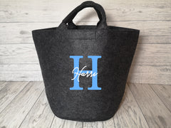 Personalised Dark grey Felt storage trug bag with letter and name