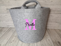 Personalised Light grey Felt storage trug bag with letter and name