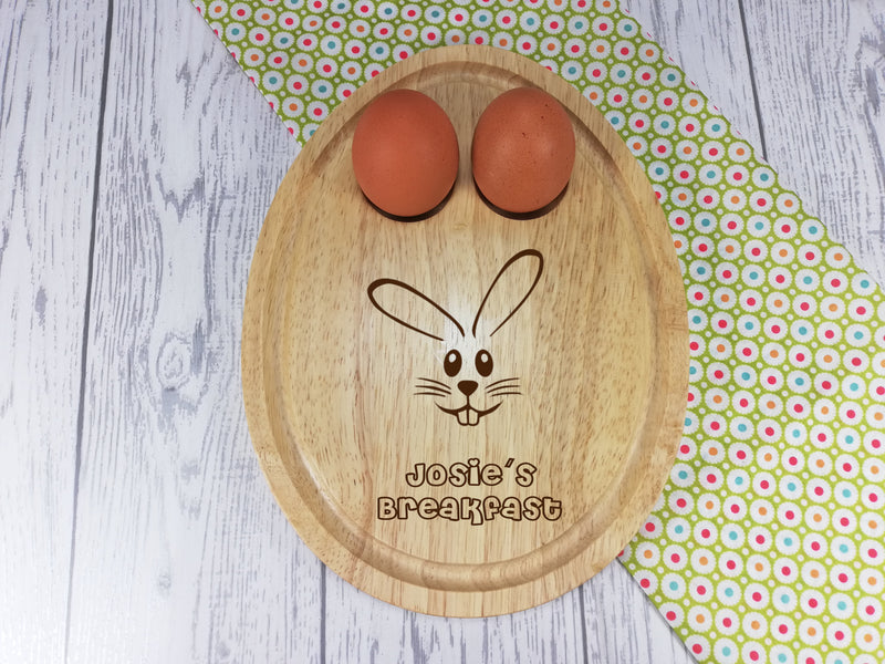 Personalised Engraved Easter bunny Wooden Egg Shaped breakfast board Any Name