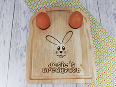 Personalised Engraved Easter bunny Wooden Toast Shaped egg breakfast board Any Name