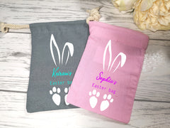 Personalised Easter bunny small bag sack add a name