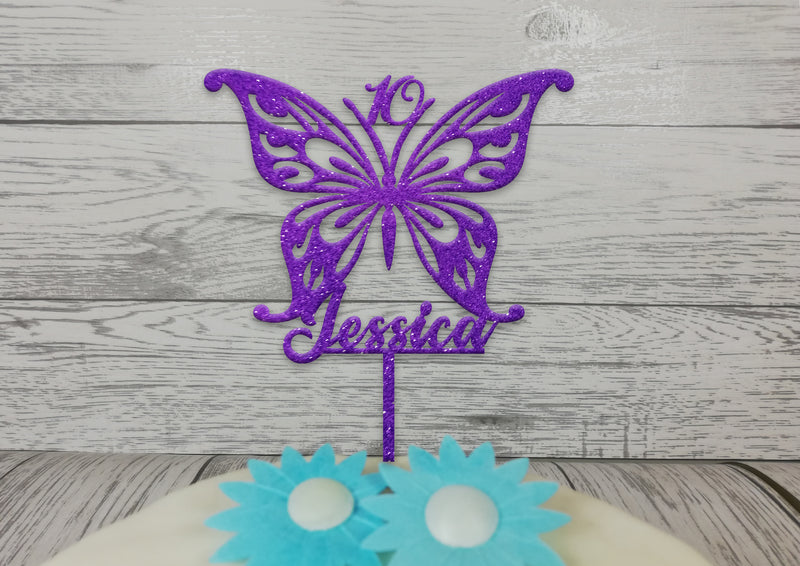 Personalised wooden birthday Butterfly cake topper Any name age