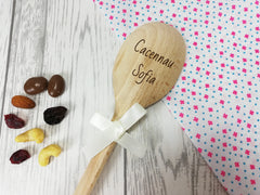 Personalised Engraved Welsh Cacennau Wooden Spoon Any name with or without ribbon
