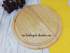 Personalised Engraved Wooden Round Chopping cheese board Any Name