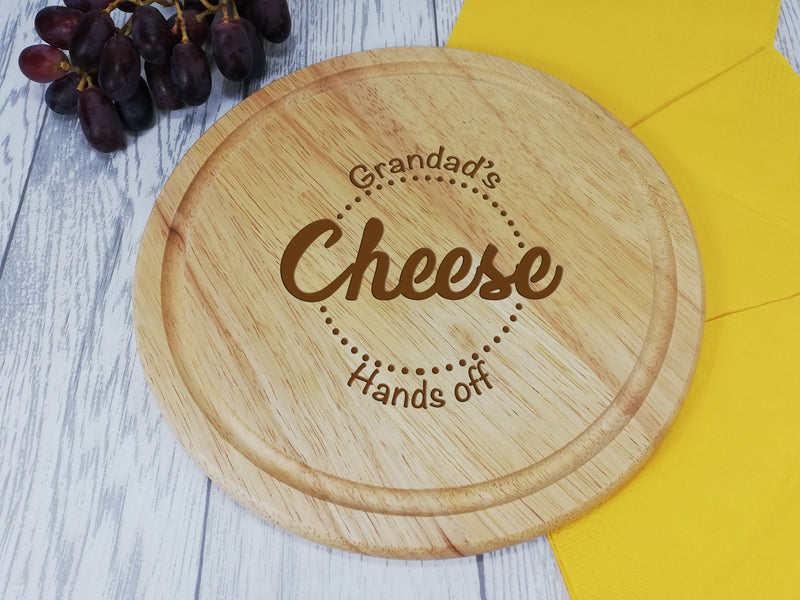 Personalised Engraved Wooden Round Chopping board cheese Gift Any Name Dad Grandad