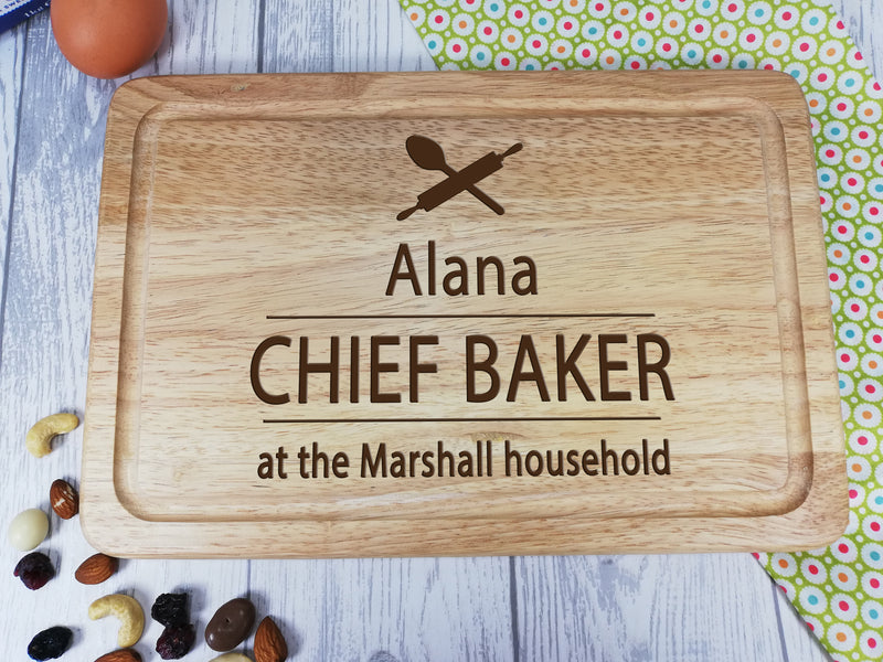 Personalised Engraved Wooden Chopping board Chief Baker Any Name