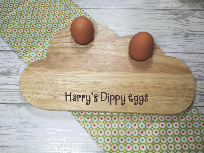 Personalised Engraved Dippy eggs Wooden Cloud Shaped egg breakfast supper board