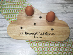 Personalised Engraved Welsh Christmas name Wooden Cloud Shaped egg breakfast supper board