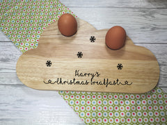 Personalised Engraved Christmas name Wooden Cloud Shaped egg breakfast supper board