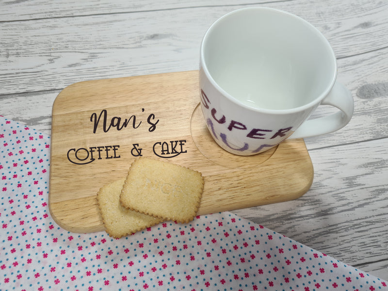 Personalised Engraved coffee and cake board Any Name