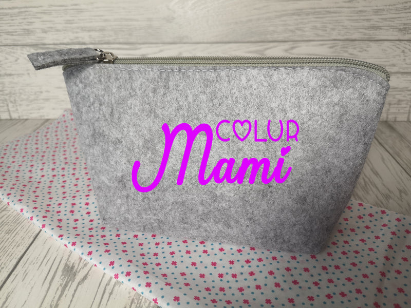 Personalised Light grey Small Felt Welsh Name makeup bag