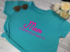 Custom Women's cropped blue t-shirt Welsh Mami i Fechgyn / i ferched  choice of colour detail