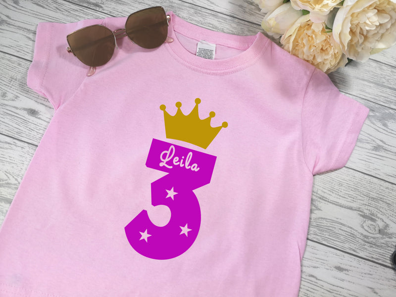 Personalised Kids Birthday Age Baby pink custom t-shirt with Princess crown