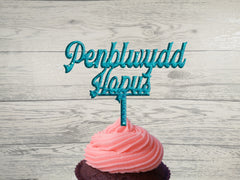 Personalised Wooden Glitter Welsh Penblwydd Hapus cupcake mini Topper Any wording