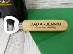 Personalised Engraved wooden beer bottle opener Welsh Dad Arbennig Tadcu Gift