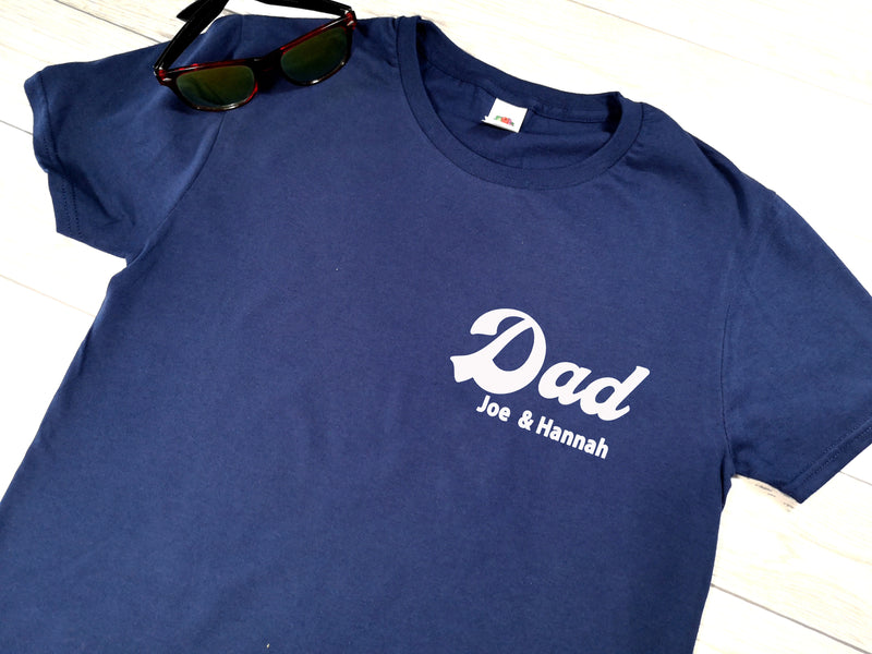 Personalised Dad with kids names Navy T-shirt for Father's day