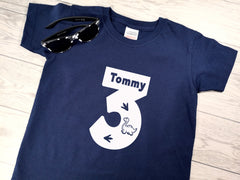 Personalised Kids Birthday Age Navy custom t-shirt with Dinosaur detail
