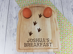 Personalised Engraved Dinosaur footprints  Wooden Toast Shaped egg breakfast board Any Name