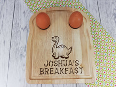 Personalised Engraved Dinosaur  Wooden Toast Shaped egg breakfast board Any Name