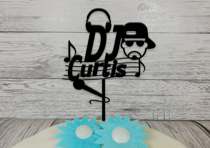 Personalised wooden birthday Dj Rapper cake topper Any name
