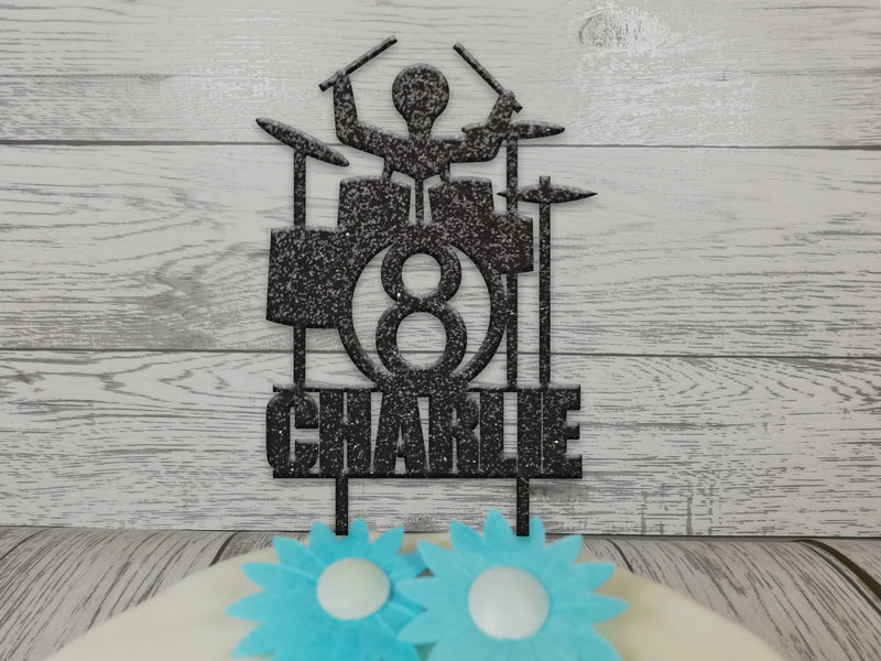 Personalised wooden birthday Drum kit cake topper Any name Age