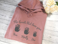 Personalised Womens DUSKY PINK hoodie with Children's handprints detail In choice of colours