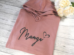 Personalised Womens DUSKY PINK hoodie with Fancy Name heart detail