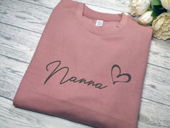 Personalised Unisex WELSH Dusky pink  jumper Any name heart detail