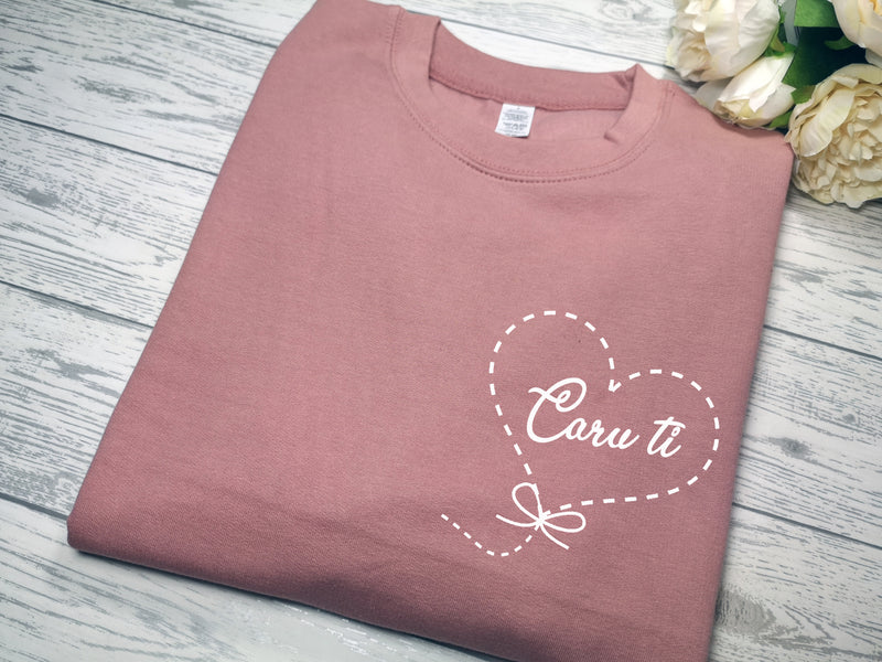 Personalised Unisex WELSH Dusky pink jumper Caru ti balloon heart detail