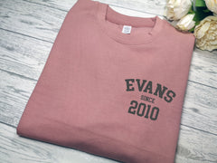 Personalised Unisex Dusky pink  jumper Any surname Since year detail