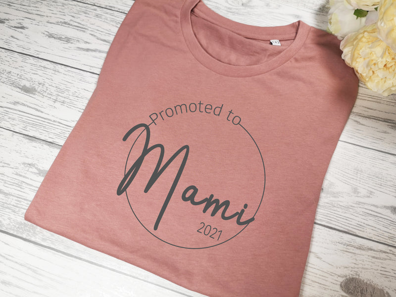 Personalised Women's Dusky pink t-shirt promoted to Mum New Mam