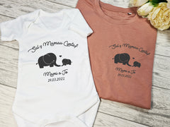 Personalised WELSH Sul y mamau Matching Mother and Baby dusky pink T-shirt and baby grow vest