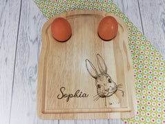 Personalised Engraved Bunny rabbit Wooden Toast Shaped egg breakfast board Any Name
