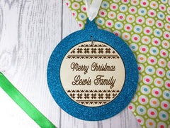 Personalised engraved wooden Family Christmas glitter bauble