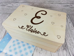 Personalised Letter Hearts Memory keepsake box 30cm with handles Any Name