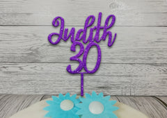 Personalised wooden birthday Fancy Name cake topper Any age