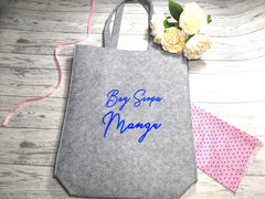 Personalised Grey Felt Tote bag with side Name bag siopa detail