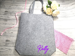 Personalised Grey Felt Tote bag with Name detail