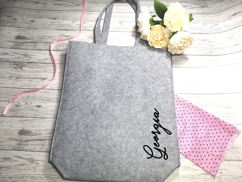 Personalised Grey Felt Tote bag with side Name detail