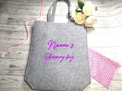 Personalised Grey Felt Tote bag with side Name shopping bag detail