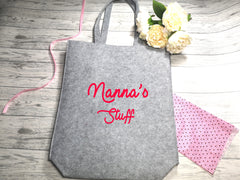 Personalised Grey Felt Tote bag with side Name stuff bag detail