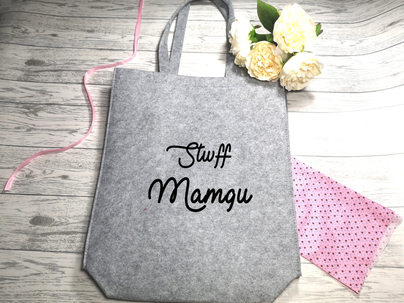 Personalised Welsh Grey Felt Tote bag with side Name stwff bag detail