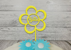Personalised wooden birthday Flower cake topper Any name