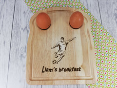 Personalised Engraved Football Wooden Toast Shaped egg breakfast board Any Name