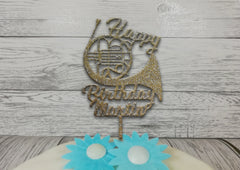 Personalised wooden birthday Welsh Music French Horn cake topper Any name
