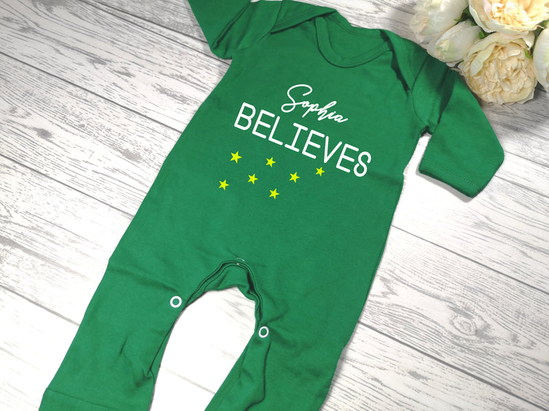Personalised Green Christmas Baby grow with Believes detail
